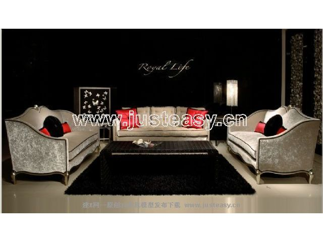 Combination of two low-key luxury sofa 3D Model