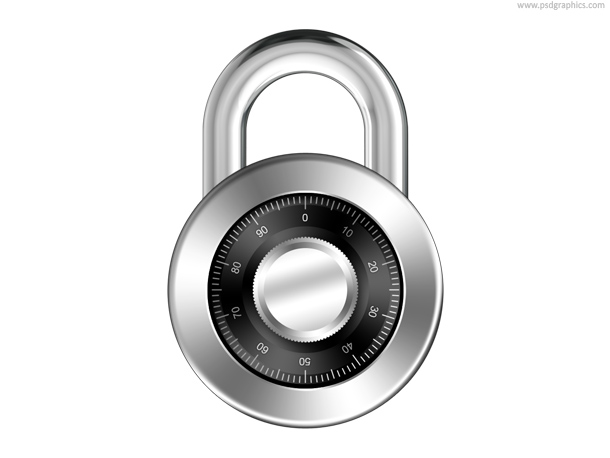 Combination padlock icon (PSD)