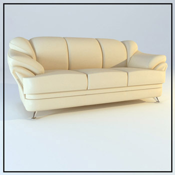 Comfort beige leather sofa 3D Model