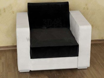 Comfortable black and white single sofa 3D Model