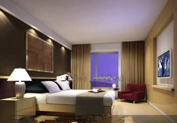 Comfortable business-type hotel bedroom 3D Model