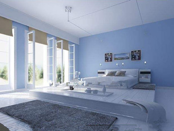 Comfortable minimalist light blue bedroom 3D Model