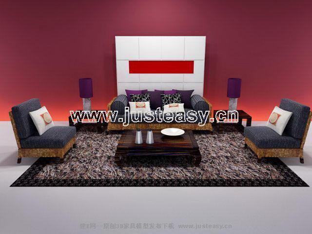 Complete 3D model of sofa combinations (including materials)