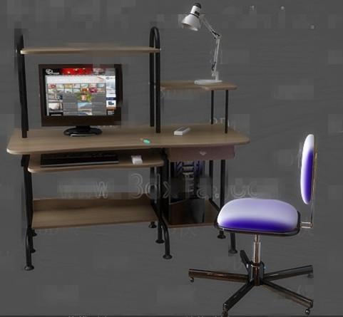 Computer desk combination -1 3D Model