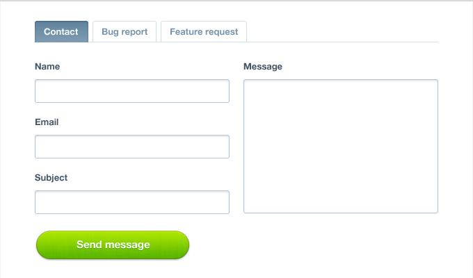 Contact Form with Tabs PSD