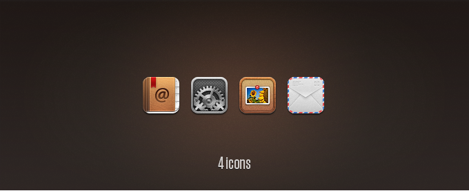 Contacts, Settings, Photos, and Mail Replacement Icons PSD