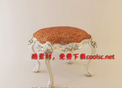 Continental carved stool quality 3D model