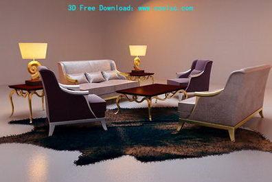 Continental combination sofa 3D model (including materials)