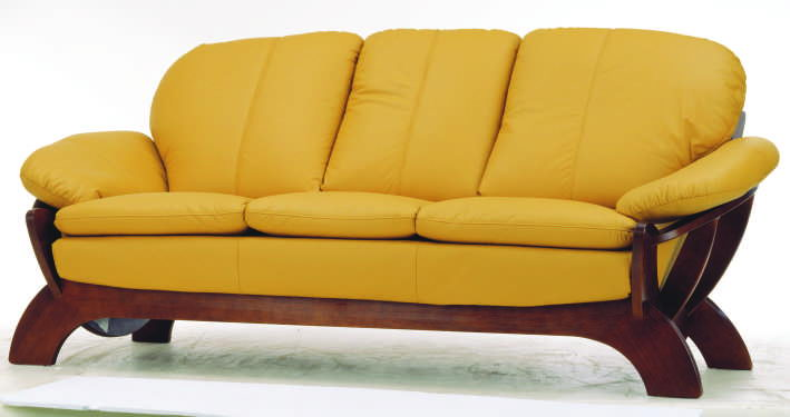 Contracted cloth art sofa wood bottom yellow three 3D models