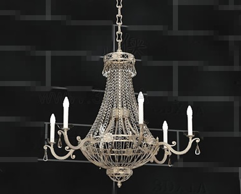 Crystal curtains candles pendant 3D Model