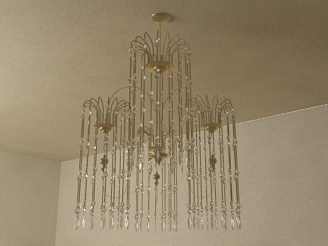 Crystal shade type pendent lamp 3D models (including material)