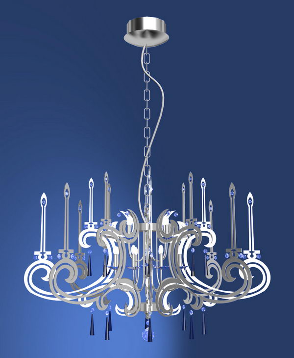 Crystal Two-tier Chandelier Model 3P 3D Model