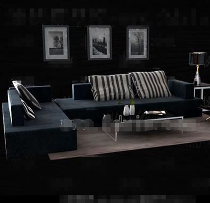 Dark blue fabric sofa combination 3D Model