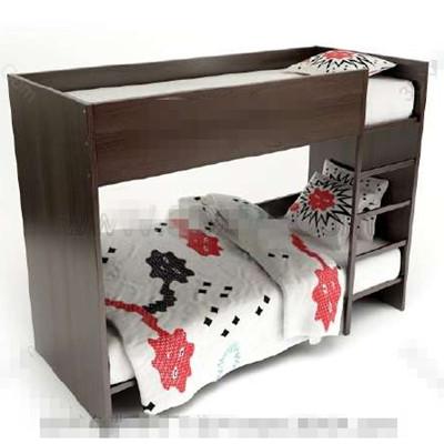Dark brown children stacked bed 3D Model