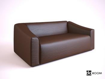 Dark brown cortical many people sofa 3D Model