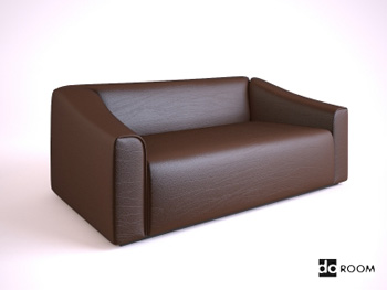 Dark brown cortical many people sofa 3D Model