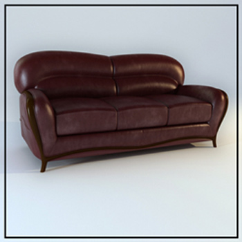 Dark brown leather sofa 3D Model
