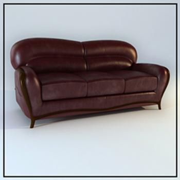 Dark brown leather sofa 3D Model