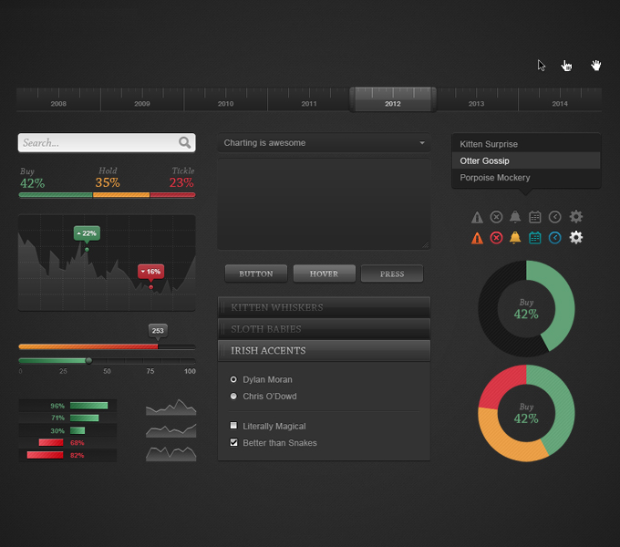 Dark Chart UI Kit PSD