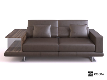 Dark coffee color leather sofa 3D Model