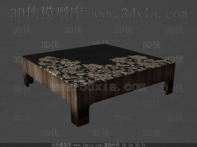 Dark color wooden square tea table 3D Model