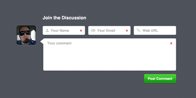 Dark Comment Form PSD