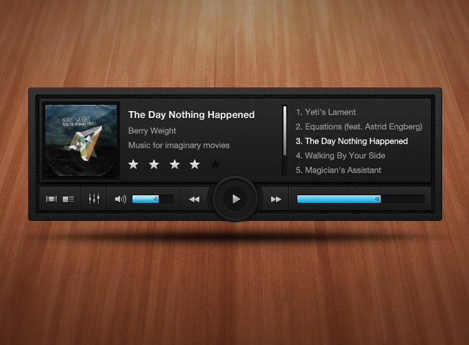 Dark, Complex Music Player PSD