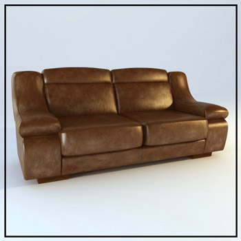 Dark double sofa 3D Model