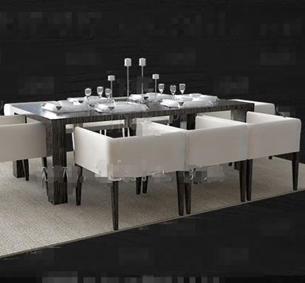 Dark long dining table combination 3D Model