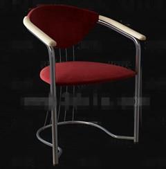 Dark red metal feet chairs 3D Model