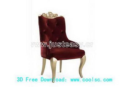 Dark red sofa 3D model (including materials)