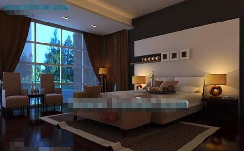 Dark solemn type bedroom 3D Model