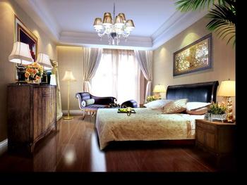 Dark solid wood retro bedroom 3D Model