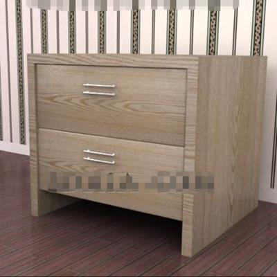 Dark wooden drawers bedside cabinet 3D Model