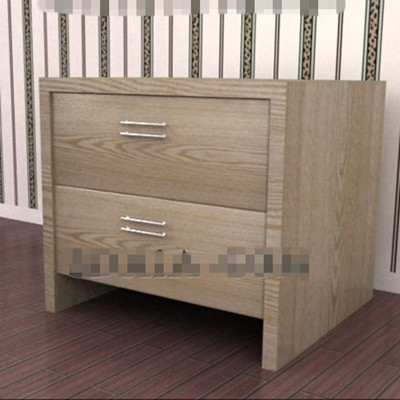 Dark wooden drawers bedside cabinet 3D Model