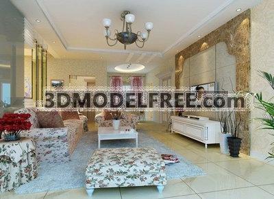 Deluxe Living Room 3D Model