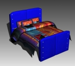 Double Bed Design Series D: Blue Ethnic Bed 3D Model