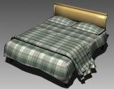 Double Bed Design Series E Green Buffalo Check Sheet 3D Model
