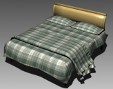Double Bed Design Series E Green Buffalo Check Sheet 3D Model