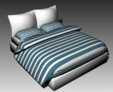Double Bed Design Series G Green and White Striped 3D Model