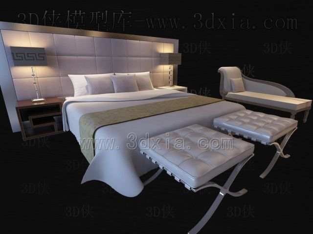 Double beds with lamps 3D models-1