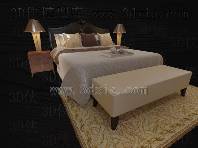 Double beds with lamps 3D models-13