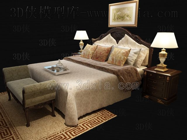 Double beds with lamps 3D models-2