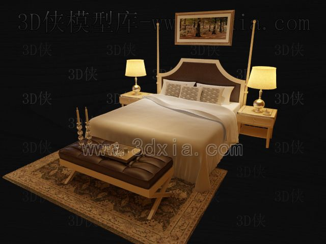 Double beds with lamps 3D models-5