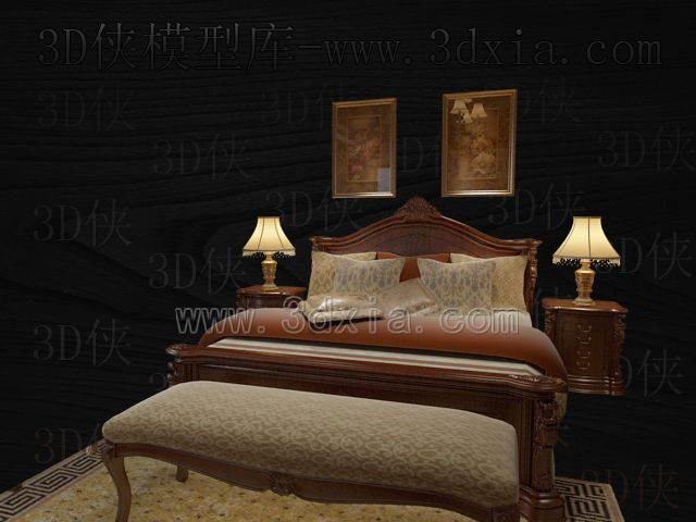 Double beds with lamps 3D models-8
