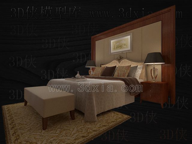 Double beds with lamps 3D models-9