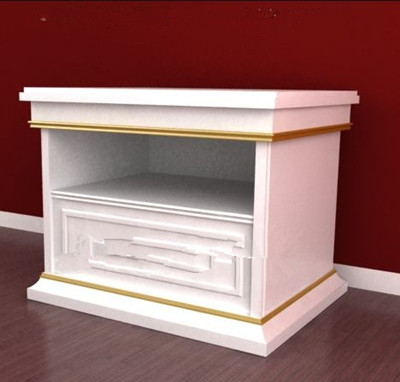 Double-layer white bedside cabinet 3D Model