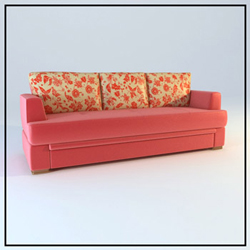 Double pink household soft cloth art sofa 3D models