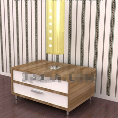 Double white drawers bedside cabinet 3D Model