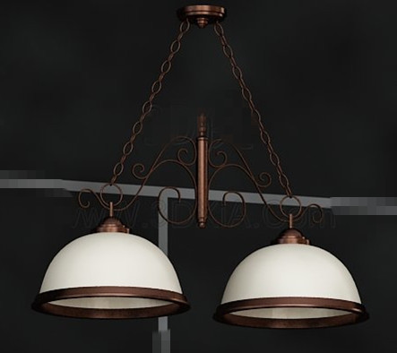 Double white lampshade combination pendant 3D Model